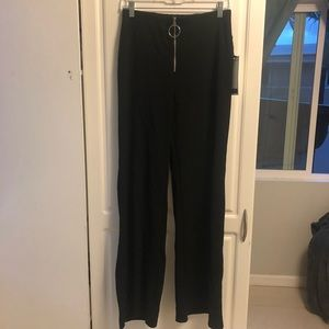 black zipper flare pants